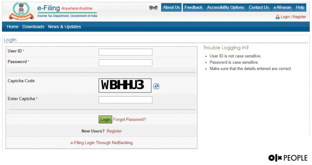 income tax online login