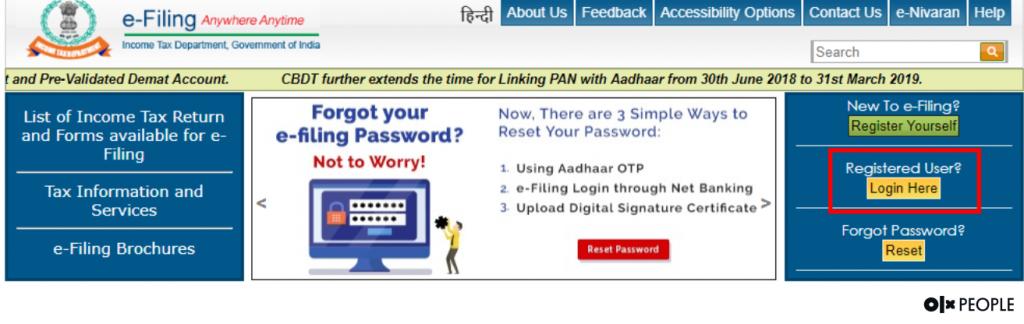 income tax e-filing portal login