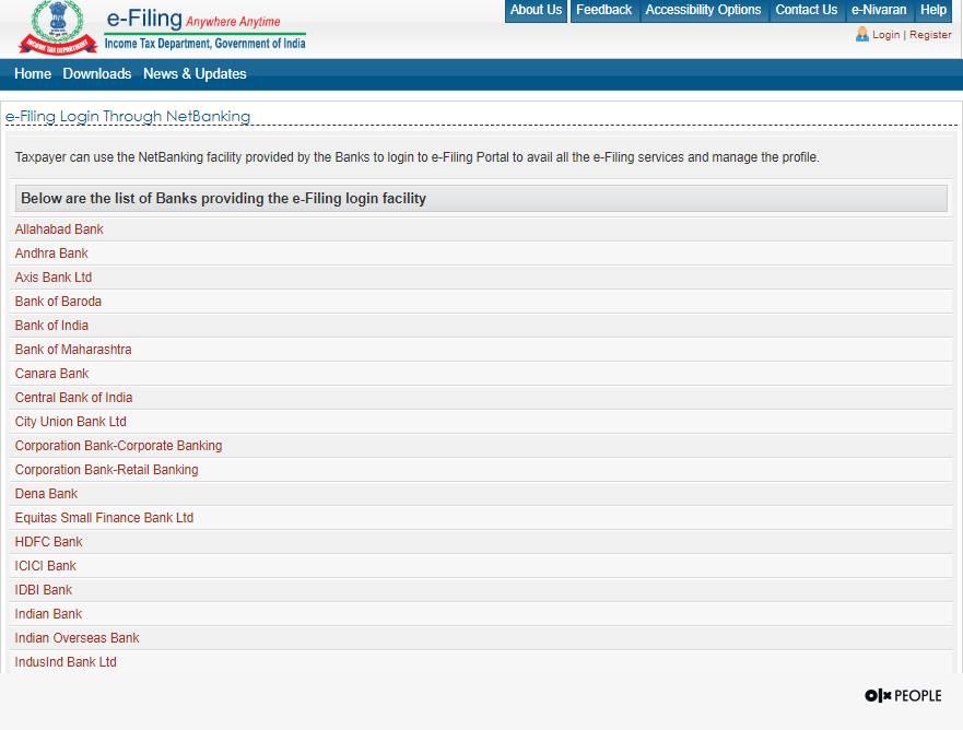 Login to income tax e-filing portal